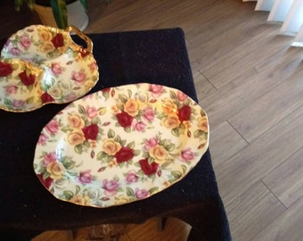"""Royal Elfreda """"Country Rose"""" serving plate and sectional dish"""