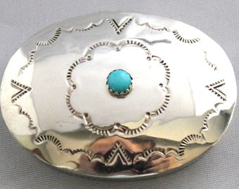 Navajo STERLING Silver and Turquoise Snuff/Pill/Make-Up Box CASTILLO *GR412