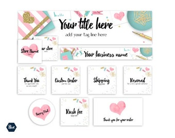 New Etsy banner  - 14 piece Etsy branding package - Cohesive store graphics - Styled digital photography - Editable etsy branding PSD file.