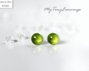 4mm Stud Green Lime Earrings Round Tiny Epoxy Resin Mini Gift for Her - Stainless Steel Posts 104