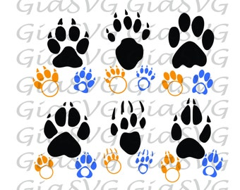 Animal Paws Monogram SVG, animal foot prints svg, animal paws clipart, ready to cut for Cricut | Silhouette etc, also in png, eps & DXF