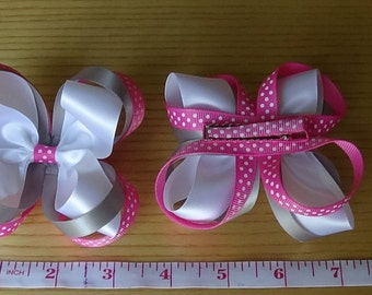 Pink and gray bow