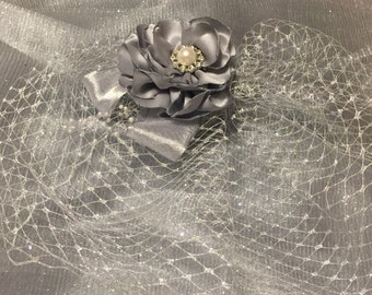 Silver birdcage veil, handmade pewter fabric flower with pearl and silver ribbon accents