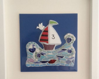 Come in No.3 Mosaic Boat Handmade Art