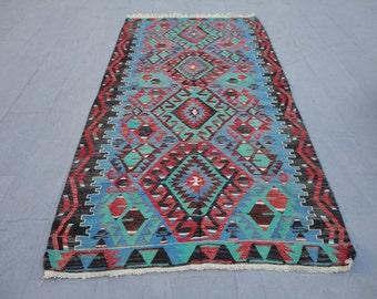 Turkish west anatolian,Oushak rug,kilim,geometric rug,115 x 58 inches