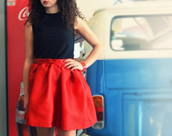 Red silk organza waist gathered skirt, short skirt, skirt, skirt, skirt, skirt corolla, evening skirt, customized