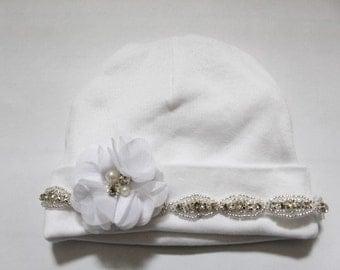New Born Baby Hats-Take me Home Rhinestone Hats- Take MeHome Hospital white  Hats-Baby Photo Props hats -
