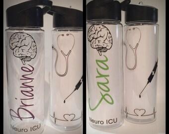 Neuro ICU nurse 24oz personalized water bottle