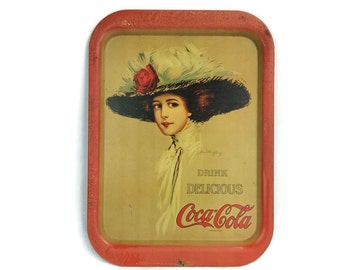 Coca-Cola Tray, Vintage Coca-Cola Tray, 1970's, Hamilton King Girl, Metal Serving Tray, Kitchen Decor,