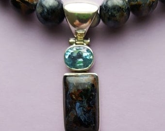 One of a Kind Blue Pietersite Beaded Necklace with Blue Pietersite Pendant