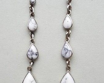 Graduating Teardrop White Howlite Sterling Silver Hook Earrings