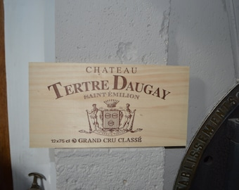 Wine wood crate panel  from french wine growing region south west saint Emillion for decoration