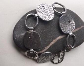 Petal  bracelet 925 Sterling silver handmade and etched.