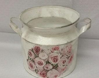 Old Vintage Roses metallic Jar