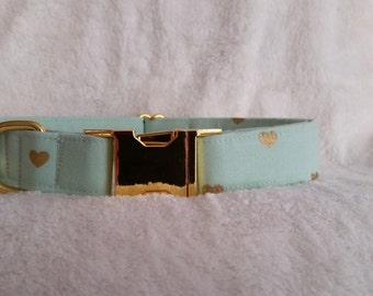Dog Collar-Mint with Gold Hearts