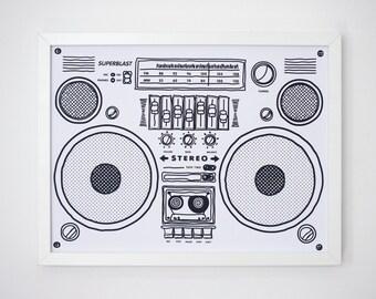 Boom box poster silkscreen 30x40cm - serigraph - original art print on paper - Old school boombox Print - hand printed
