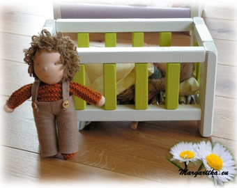 Small wooden waldorf baby doll bed, wooden furniture, wooden toy