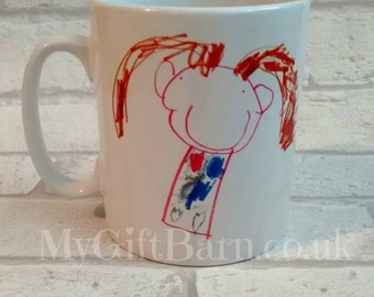 Your Childs Artwork on a Mug. Personalised Child's Drawing. Father's Day Gift