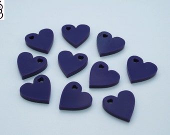 10, 25, 50 x Perspex Heart Charm Acrylic Purple Gloss FREE SHIPPING