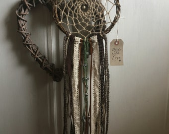 Handmade Vintage Country Shabby Chic, Lace Twig Dreamcatcher Garden Wind Chime Fall Autumn Halloween