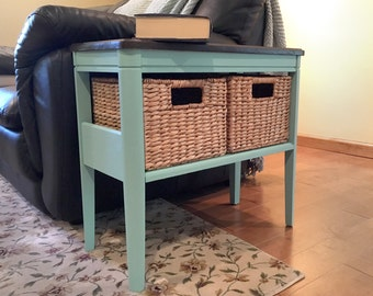 Teal Table with Storage Baskets