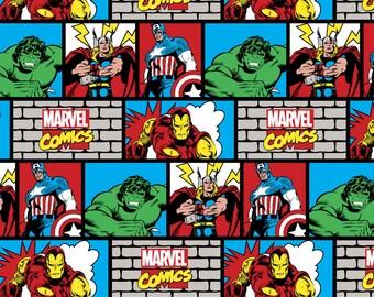 Marvel Comic Wall Knit from Springs Creative - comics avengers ironman incredible hulk thor captain america