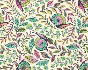 TULA PINK Slow and Steady Pit Crew in Strawberry Kiwi PWTP086.Straw - cotton fabric quilting cotton, snails, leaves, green, pink, purple