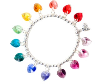 Rainbow Candy Hearts Sterling Silver & SWAROVSKI crystal Charm Bracelet