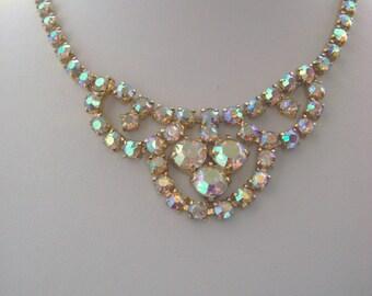 Vintage Necklace, Aurora Borealis 16 inch Swag Necklace