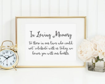 In Loving Memory Sign Table Card, In Loving Memory Wedding Sign, Family Photo Table Sign, Wedding signs, Wedding Signage, WCS004