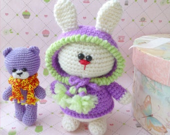 amigurumi bunny,purple knitted rabbit,cute crocheted bunny,crocheted toy,Baby Crochet toy,funny bunny,Gift crochet toy,spring  flowers