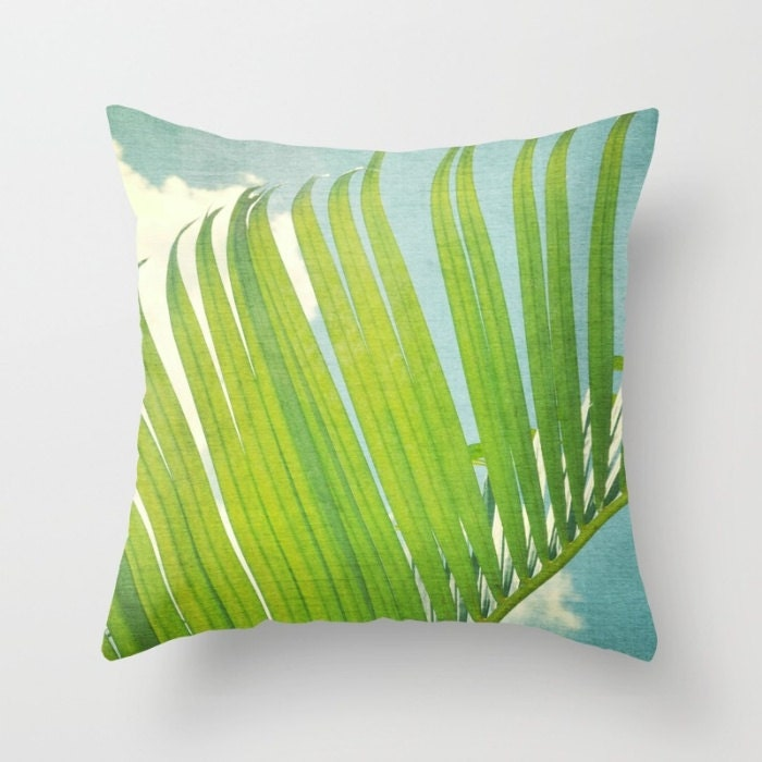 Decorative Pillow Palm Tree : palm tree leaf throw pillow green and blue tropical pillow