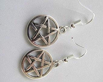 Pentagram earrings drop earrings dangle earrings grunge earrings goth earrings witchcraft earrings emo earrings pagan gift.
