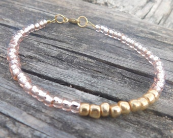 4mm Light Pink and Gold Seed Bead Bracelet