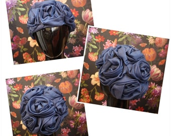 1960's Navy Ruched Rose Hat
