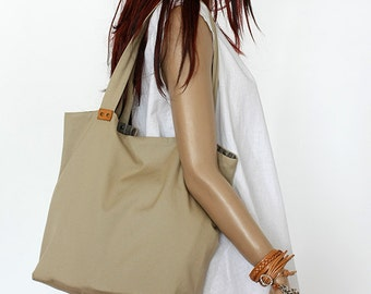 Beige cotton bag / Cotton tote bag / Cotton shopping bag /Cotton beach bag