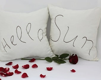Set pillow case with hidden zipper and embroidered writing/ Pillow case set - 2 pillow covers