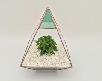 Pyramid Stained glass turquiose terrarium planter cacti succulents