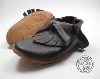 Baby Moccasins, Leather Baby Shoes, Leather Moccasins, Upcycled Leather, Toddler Moccasins, Brown Moccasins, Baby Gift, Shower Gift