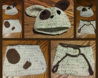 Puppy Beanie and Diaper Cover