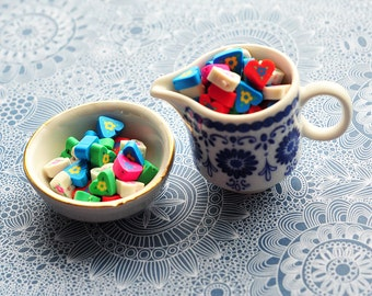 Cute heartshaped, small beads, polymer clay fimo beads, heart shape