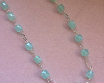 Chalcedony Cubes and Sterling Silver Long Necklace