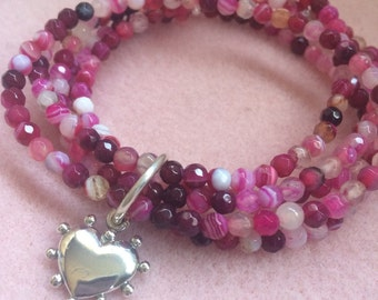 Fuchsia Agate Stretchy Bracelet Set with Sterling Silver Heart Charm