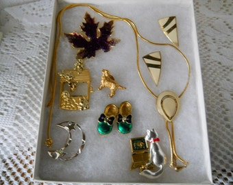 Vintage Jewelry Lot Pins Necklace Earrings #235
