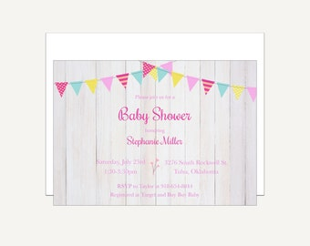 Baby Shower Invitation Printable, Baby girl, Rustic, Chic