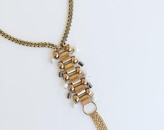 Scorpion Woman Brass Statement Necklace Howlite