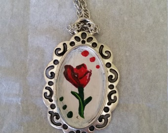 Rose Hand Painted Pendent