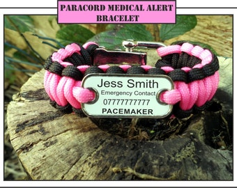 Paracord Personalised Medical Alert Bracelet