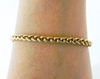 "Vintage Round Chain Link Bangle Bracelet Gold Tone 7.5"""