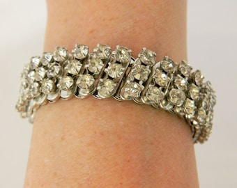Vintage 50s Stretch Expandable Bracelet Clear Rhinestone Silver Tone